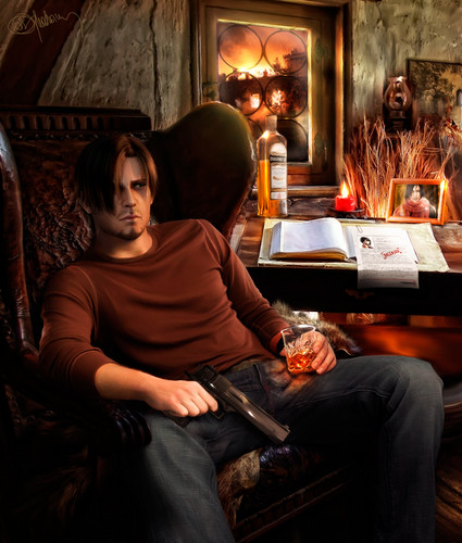 Leon Kennedy wallpaper containing a drawing room, a living room, and a family room entitled Sad Leon - Drawing Art