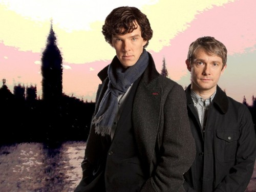 Sherlock Holmes 바탕화면 possibly containing a well dressed person, an overgarment, and a business suit titled Sherlock and John