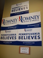 Signs at a Pennsylvania Romney Victory Center - mitt-romney photo
