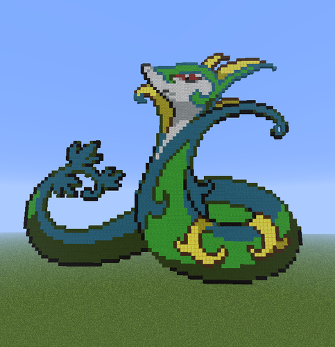 Minecraft Pixel Art! wallpaper entitled Snivy evolution family.