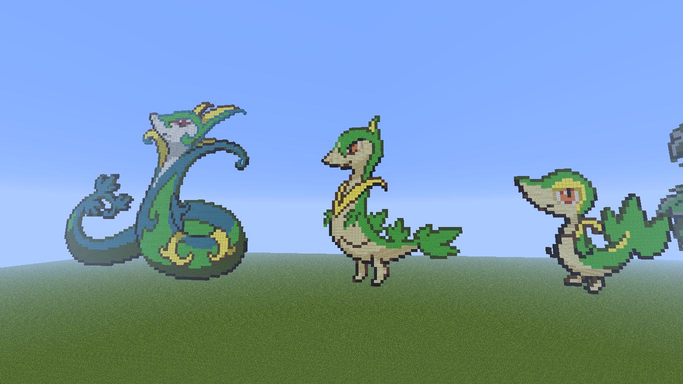 Minecraft pixel art snivy evolution family