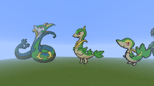 Minecraft Pixel Art! wallpaper possibly with anime titled Snivy evolution family.