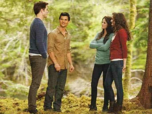 renesmee carlie cullen wallpaper with a beech titled Teen Renesmee, Bella, Jacob and Edward