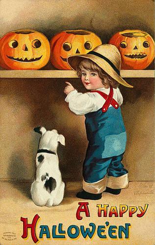 Vintage Dia das bruxas postcard