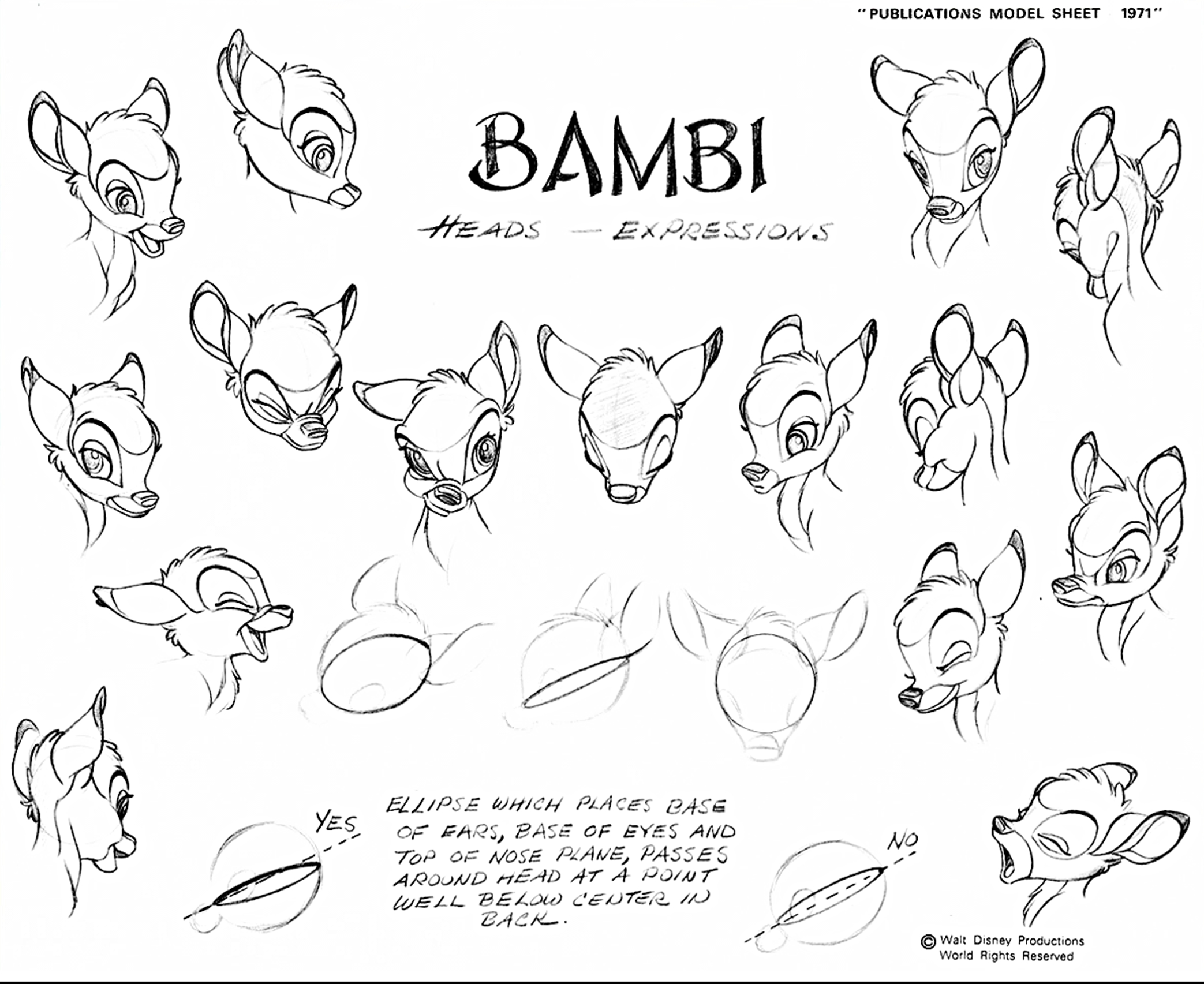 Walt Disney Sketches Bambi Characters