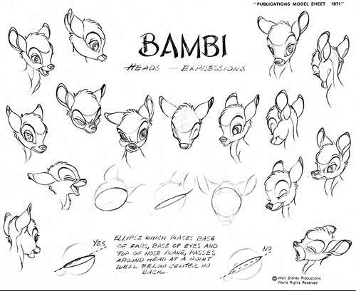 Walt ডিজনি Sketches - Bambi