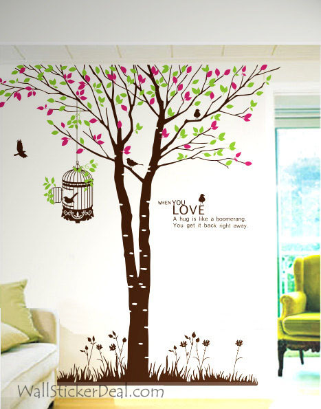 When You Love Giant Tree and Birds Wall Sticker