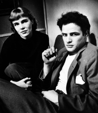 Marlon Brando wallpaper containing a hood called Young Marlon with his older sister Jocelyn Brando