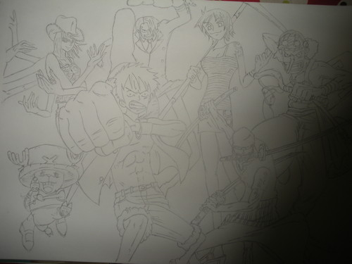 Anime Drawing Hintergrund possibly with a sign titled one piece
