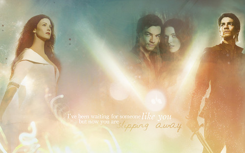 tv couples wallpaper probably containing a makan malam dress and a portrait entitled richard and Kahlan >> Legebd Of The Seeker