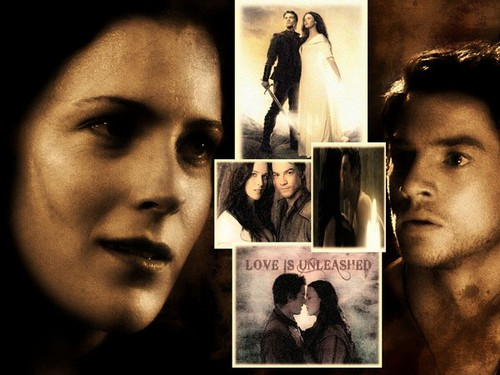 coppie della TV wallpaper possibly with a newspaper and Anime titled richard and Kahlan >> Legend Of The Seeker