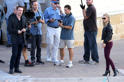 Filming a scene with Michael Fassbender during a game at Darrell K Royal-Texas Memorial Stadium, Au