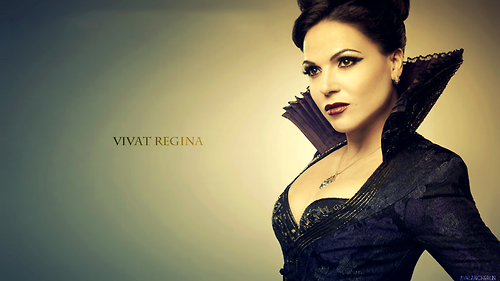Once Upon A Time پیپر وال possibly containing a well dressed person, a کاک, کاکٹیل dress, and a portrait entitled ~Regina Mills/Evil Queen~