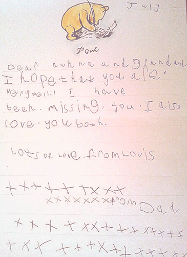 A letter Louis wrote to his nanna and grandad as a child
