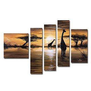 Fine Art wallpaper possibly containing a lectern called African Grasslands Oil Painting - Set of 5 - Free Shipping