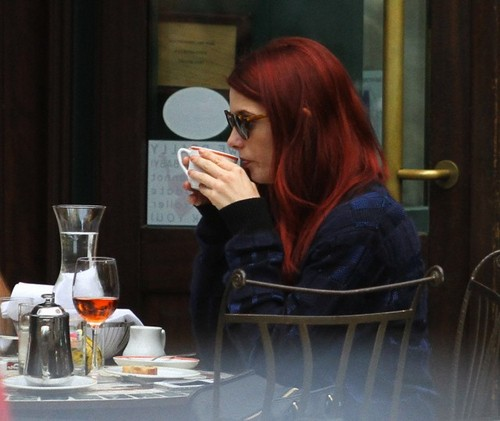 Ashley Greene shows off her NEW Red Hair While Having Lunch with Friends, In New York City October 2