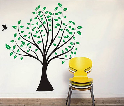 Birds Flying Around Green Tree Spring Season Wall Stickers