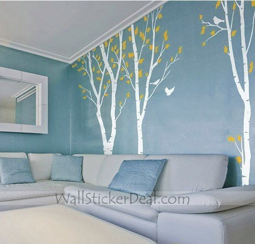 Birds in the Birch Forest 3 Sets Wall Sticker