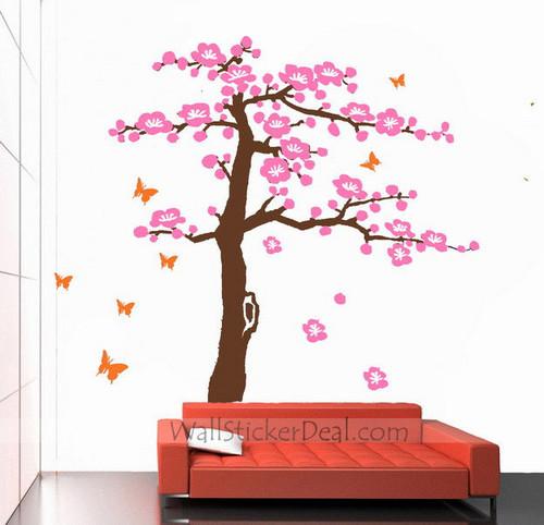borboleta cereja Blossom árvore mural Stickers