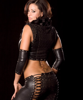 Candice Michelle Hintergrund possibly with bare legs, hosiery, and a hip boot titled Candice Michelle Photoshoot Flashback