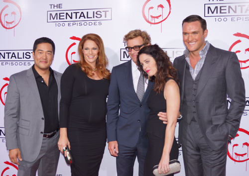 The Mentalist wallpaper containing a business suit, a suit, and a two piece titled Celebrating 100th Episode