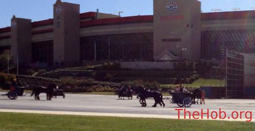 Chariots & caballos at 'Catching Fire' Set at Atlanta Speedway