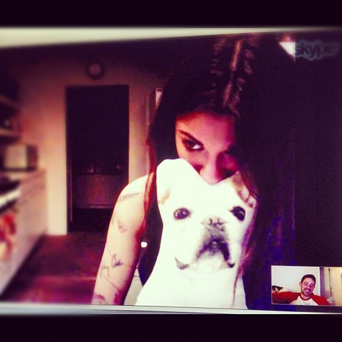 Christina Perri wallpaper possibly with a sign entitled Christina and Steve skyping