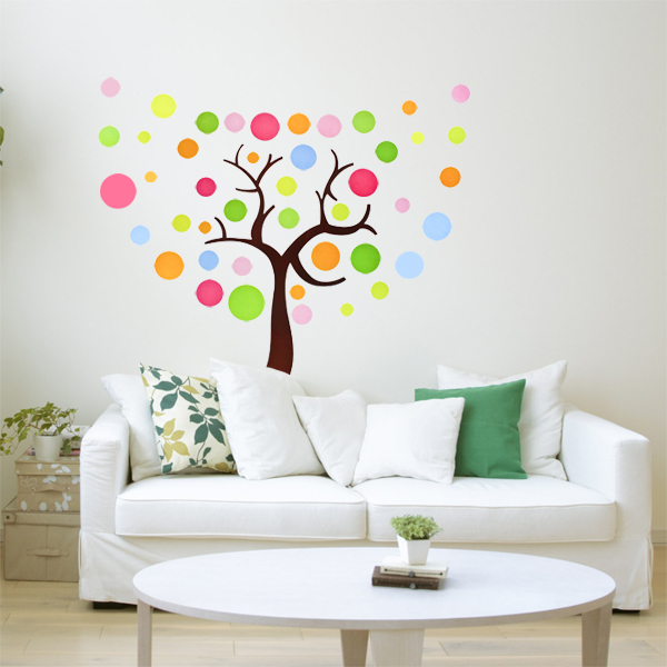 Colorful tree wall sticker home decorating photo Colorful wall decor