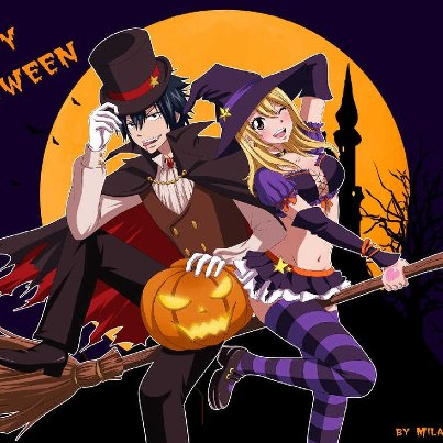 Fairy Tail wallpaper containing Anime called Fairy Tail Halloween couples