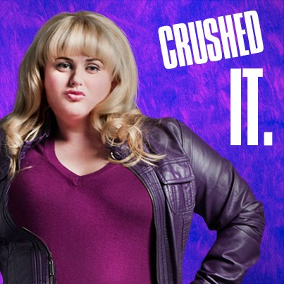 Pitch Perfect karatasi la kupamba ukuta with tights, a hip boot, and a bustier entitled Fat Amy