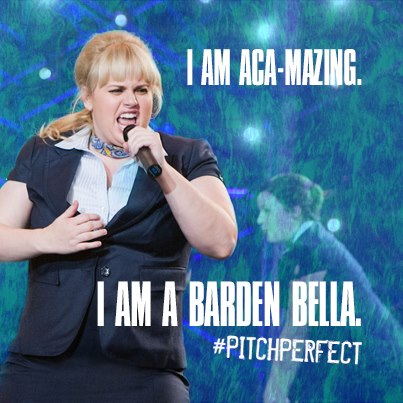 Pitch Perfect Hintergrund possibly with a arbeitskleidung, workwear and a well dressed person titled Fat Amy