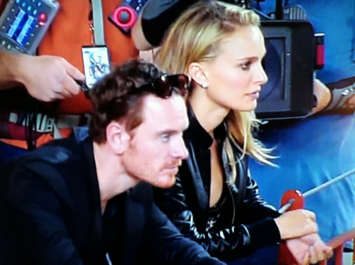 Filming a scene with Michael Fassbender during a game at Darrell K Royal-Texas Memorial Stadium, Aus