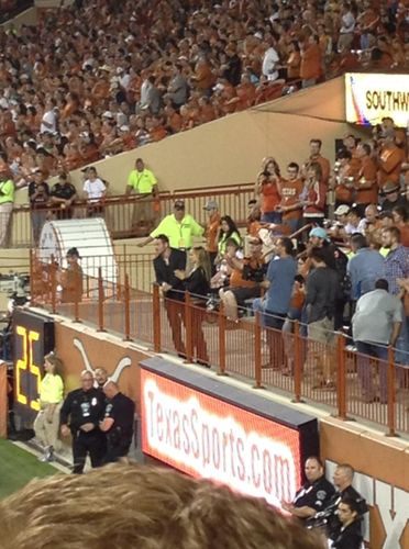 Filming a scene with Michael Fassbender during a game at Darrell K Royal-Texas Memorial Stadium, Aus - natalie-portman Photo