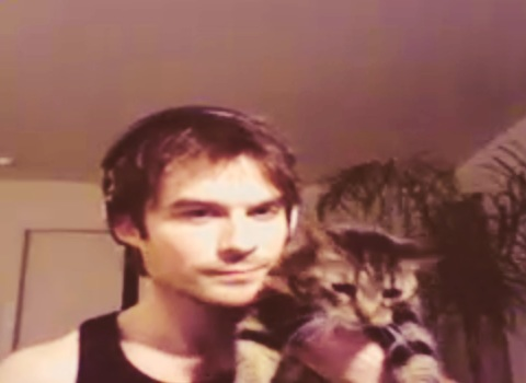 Ian Somerhalder e Nina Dobrev wallpaper probably with a cat, a kitten, and a portrait entitled Ian with Lynx(Nina's Cat)