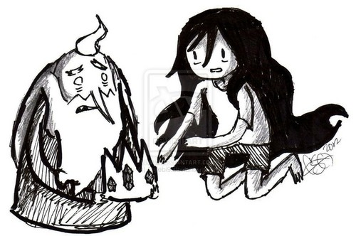 Ice King and Marceline Black and White