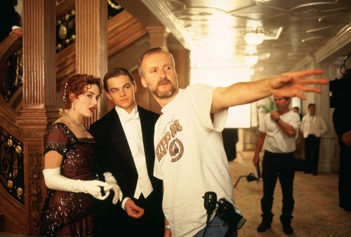 James directing Kate and Leonardo