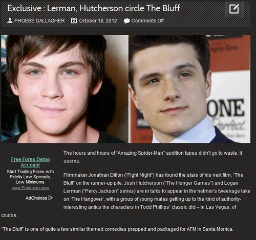 Josh in talks to sertai ''The Bluff'' with Logan Lerman