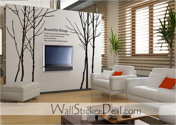 Large Size Winter Tree Wall Stickers Home Decorating