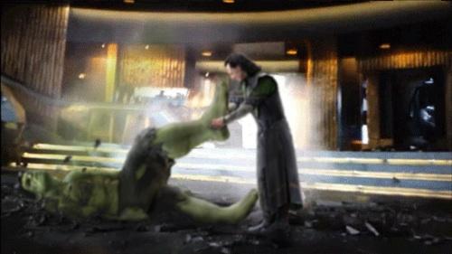 Loki smashing Hulk
