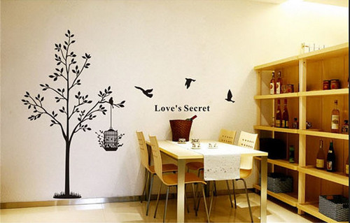 Love's Secret Birds with pohon dinding Sticker