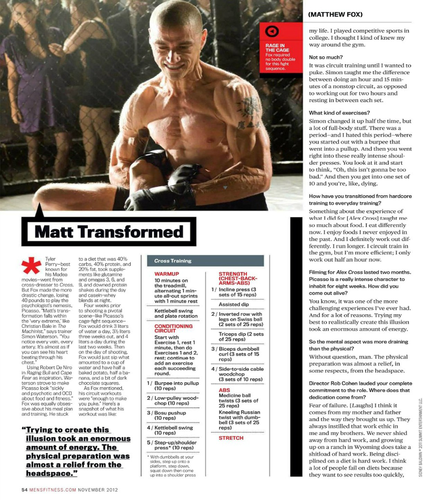 Matthew fox, mbweha || Mens Fitness November 2012