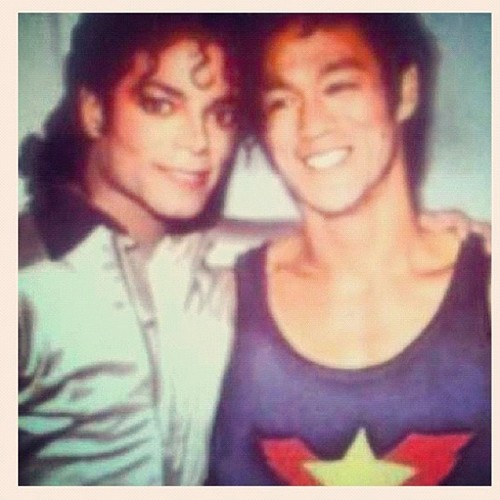 Michael Jackson wallpaper probably containing a portrait titled Michael Jackson and Bruce Lee ♥♥