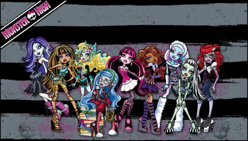 Halloween wallpaper possibly containing a sign, a street, and anime called Monster high happy halloween!
