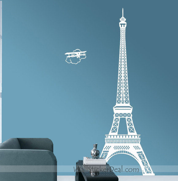 Paris Eiffel Tower With Plane Wall Sticker Home
