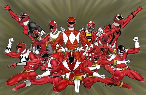 The Power Rangers wallpaper probably with anime titled RED RANGERS
