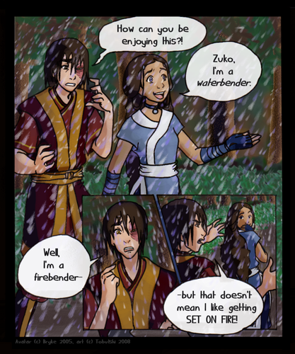 Zutara vs. Kataang achtergrond containing anime called Rain Water