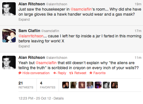 Sam Claflin and Alan Ritchson on twitter
