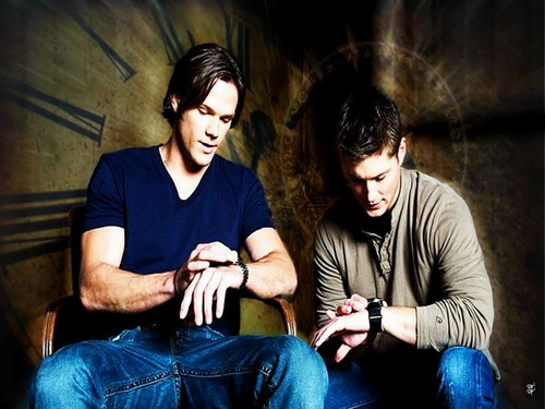 Supernatural wallpaper probably containing a hip boot, a family room, and a living room titled Sam & Dean