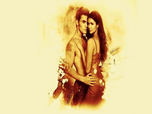 Vampire Diaries Hintergrund probably with a portrait called Stefan & Elena