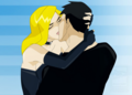 Superboy and Black Canary kiss - young-justice fan art